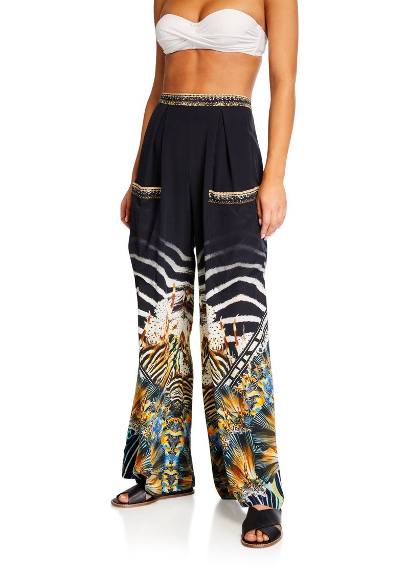 Camilla Wide Leg Printed Trousers w/ Front Pockets