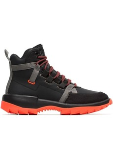 Camper black and orange Helix leather high-top sneakers