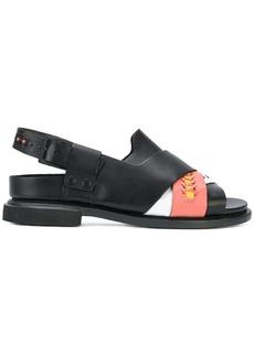 Camper crossover strap stitch detail sandals - Black