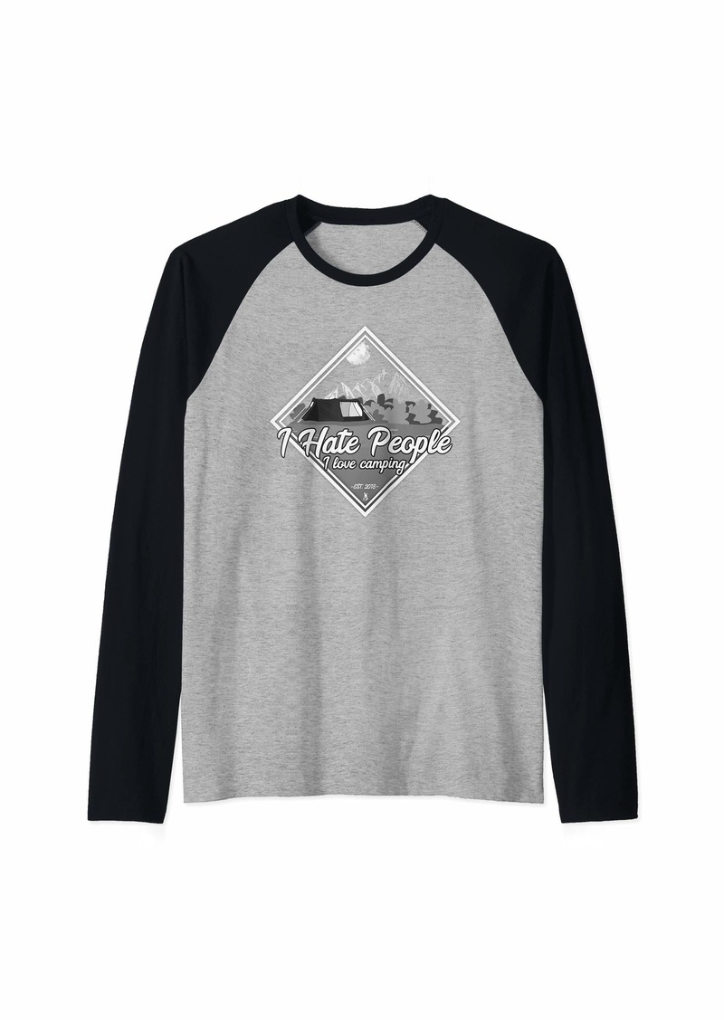 Camper I Hate Peoples i Love Campig I Love Raglan Baseball Tee