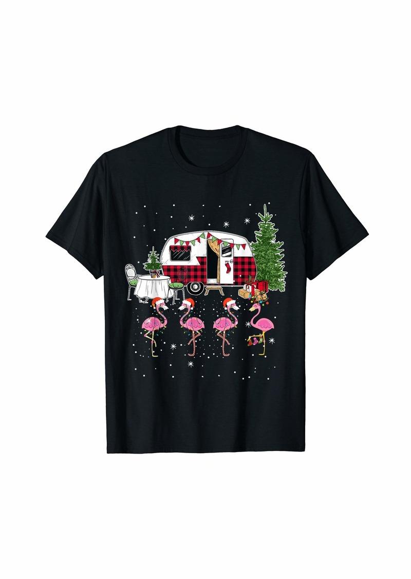 Merry Camper Funny Christmas Camping Xmas Flamingo Hat Santa T-Shirt