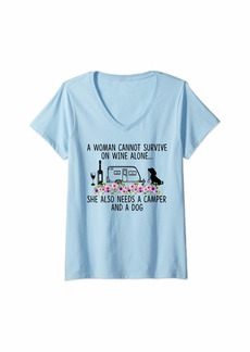 Womens A Woman Cannot Survive On Wine Alone She Needs Camper Dog V-Neck T-Shirt