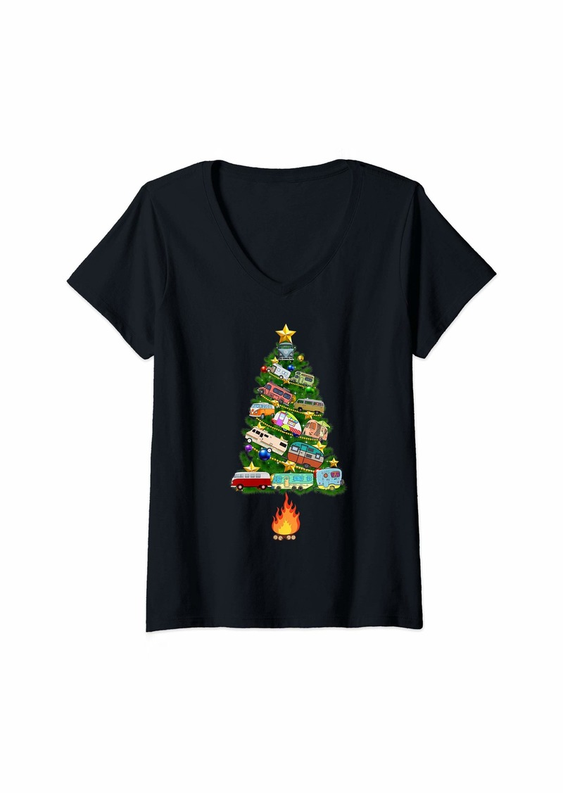 Womens Camper christmas tree funny camping gift V-Neck T-Shirt