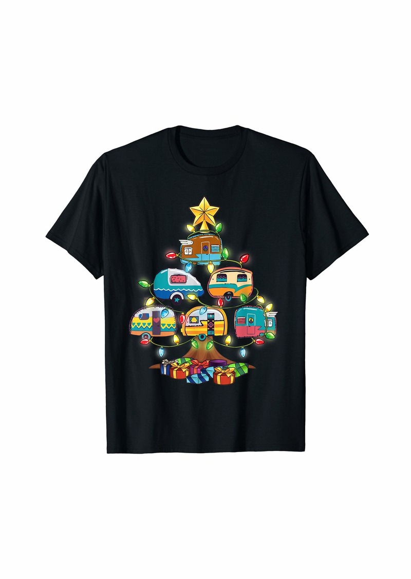 Womens Camper Christmas Tree Vehicles Camping T-Shirt