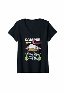 Womens Camper Queen Classy Sassy Smart Assy RV Outdoors Camping Top V-Neck T-Shirt