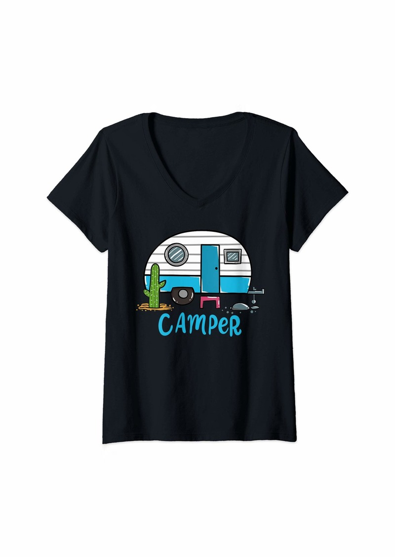 Camper Womens Camping V-Neck T-Shirt