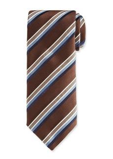 Canali Barathea Striped Silk Tie  Brown