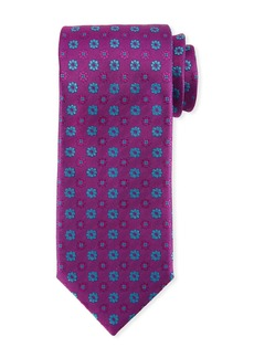 Canali Alternating Flowers Silk Tie