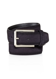 Canali Brass Buckle Suede Belt