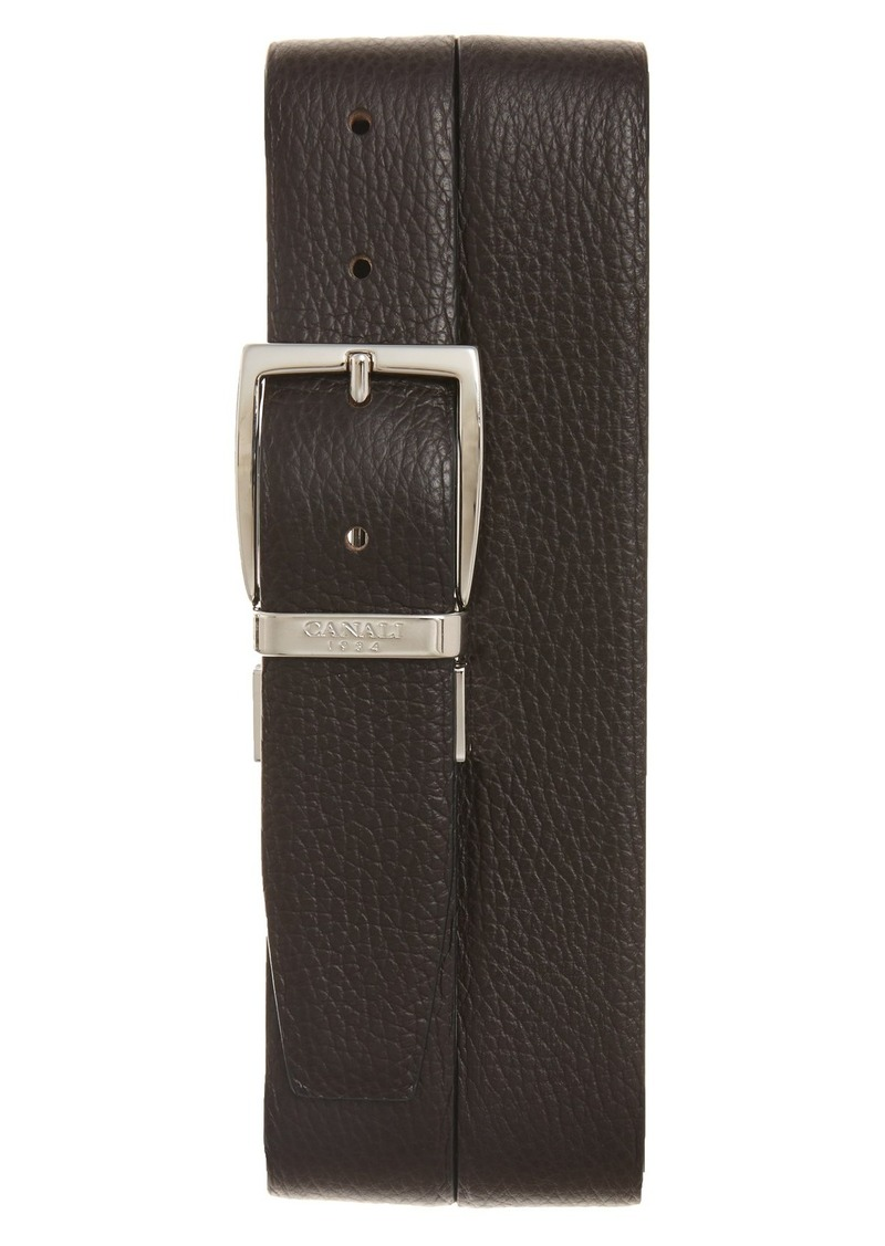 Canali Calfskin Leather Reversible Belt