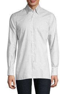 Canali Check Cotton Button-Down Shirt