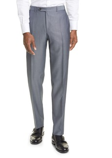 Canali Classic Fit Flat Front Wool & Mohair Dress Pants