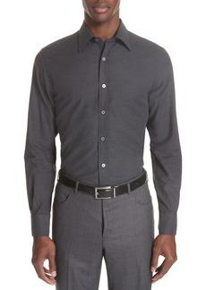 Canali Classic Fit Herringbone Sport Shirt