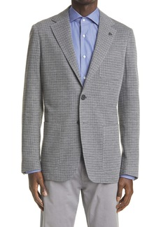 Canali Classic Fit Houndstooth Knit Cotton Blend Sport Jacket