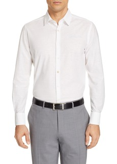 Canali Classic Fit Solid Cotton & Linen Dress Shirt