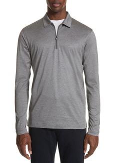Canali Cotton Quarter Zip Polo Shirt