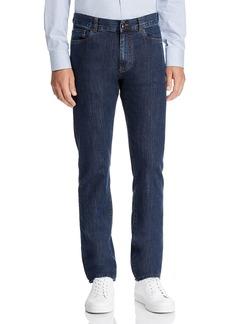 Canali Dark Wash Stretch Denim Straight Fit Jeans in Blue