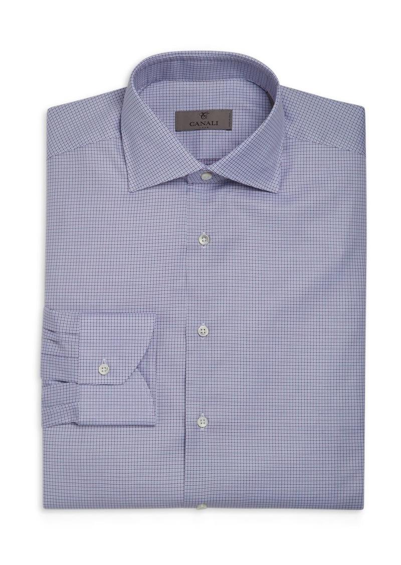 Canali Dotted Grid Pattern Regular Fit Dress Shirt