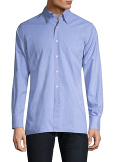 Canali Dotted-Print Cotton Button-Down Shirt
