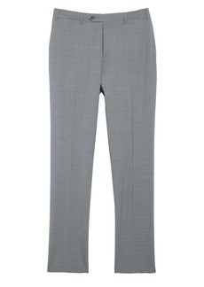 Canali Flat Front Classic Fit Solid Stretch Wool Dress Pants