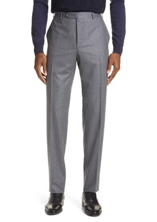 Canali Flat Front Solid Flannel Wool Dress Pants
