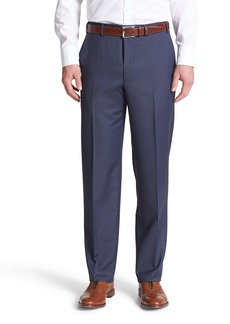 Canali Flat Front Solid Wool Dress Pants