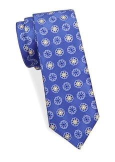 Canali Floral-Print Silk Tie