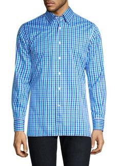 Canali Gingham-Print Cotton Button-Down Shirt