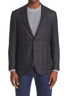 Canali Kei Classic Fit Plaid Silk & Wool Sport Coat