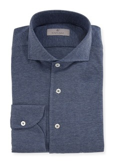 Canali Knit Barrel-Cuff Dress Shirt