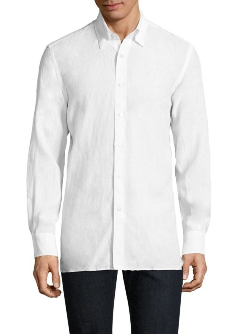 Canali Linen Casual Button-Down Shirt