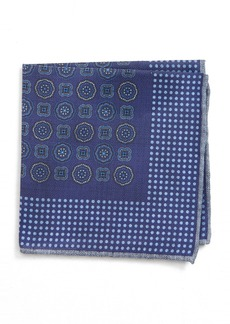 Canali Medallion Cotton Pocket Square