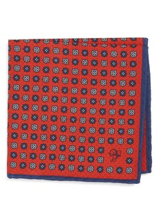 Canali Medallion Cotton Pocket Square