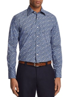 Canali Micro Floral Regular Fit Button-Down Shirt