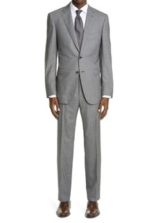 Canali Milano Trim Fit Textured Wool Suit