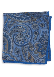Canali Paisley Wool Pocket Square