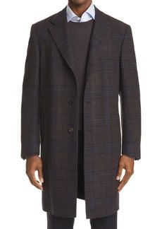 Canali Plaid Wool & Cashmere Top Coat