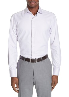 Canali Trim Fit Dot Dress Shirt
