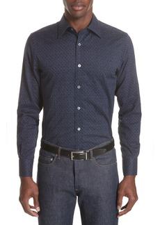Canali Regular Fit Easy Care Geometric Sport Shirt