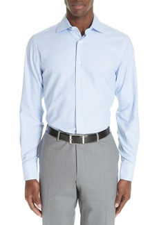 Canali Trim Fit Houndstooth Dress Shirt