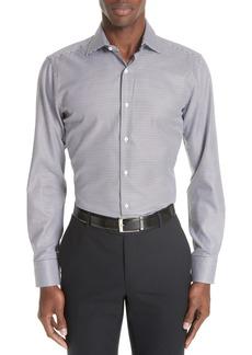 Canali Trim Fit Houndstooth Dress Shirt