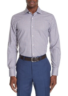 Canali Trim Fit Plaid Dress Shirt