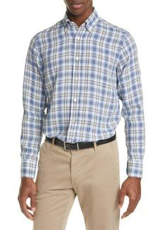 Canali Regular Fit Plaid Linen Button-Up Shirt