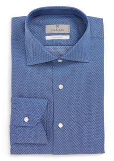 Canali Trim Fit Print Dress Shirt