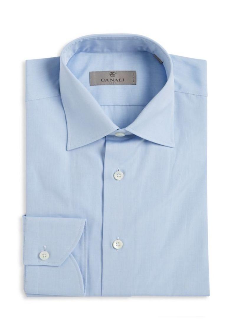Canali Regular-Fit Solid Cotton Dress Shirt