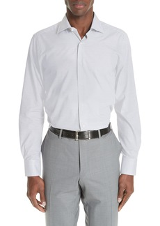 Canali Trim Fit Solid Dress Shirt