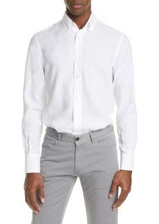Canali Regular Fit Solid Linen Button-Down Shirt