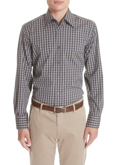 Canali Regular Fit Stretch Check Sport Shirt