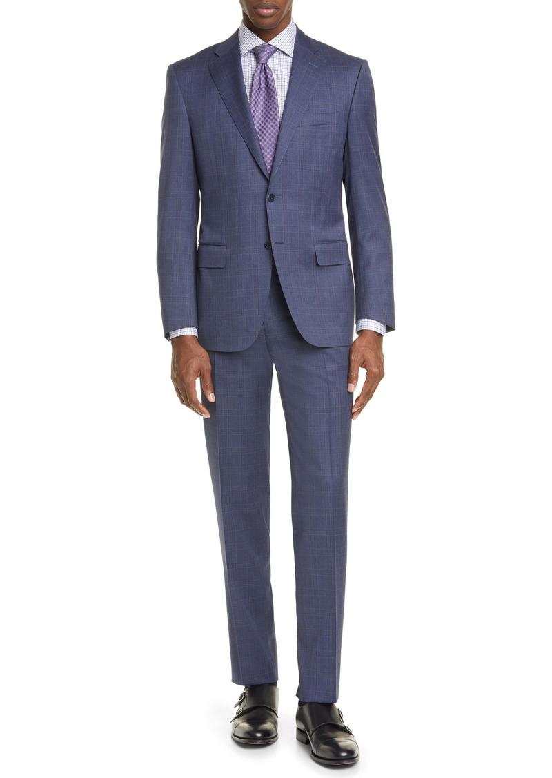 Canali Siena Soft Classic Fit Plaid Wool Suit