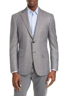Canali Siena Soft Classic Fit Windowpane Silk & Wool Sport Coat